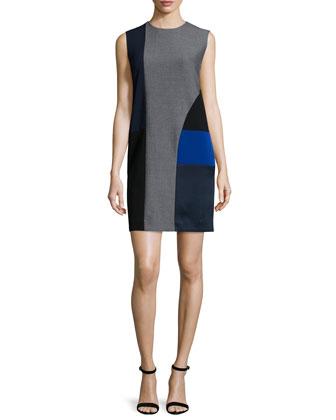 Sleeveless Colorblock Wool-Blend Shift Dress