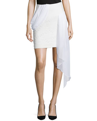 Pencil Skirt W/Draped Ruffle, White