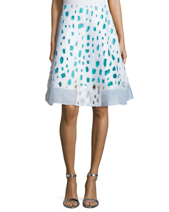 Flared Skirt W/Cutout Detail, Turquoise