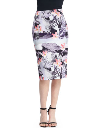Floral-Print Pencil Skirt, Bright Pink