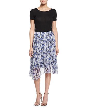 Circle Skirt W/Asymmetric Hem, Navy