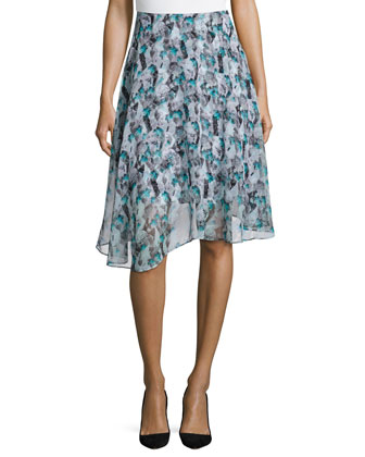 Abstract-Print Circle Skirt, Turquoise