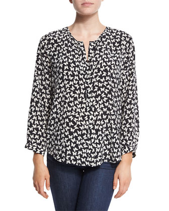 Purine Butterfly-Print Silk Top