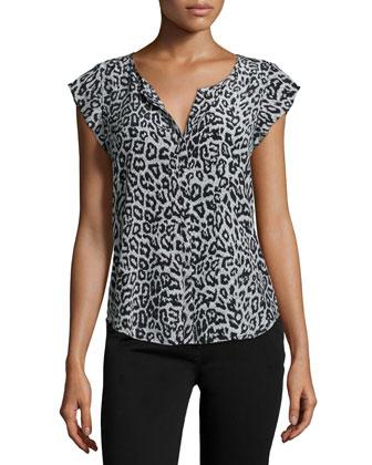 Iva Animal-Print Cap-Sleeve Blouse