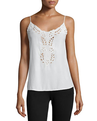 Kiefer Embroidered Silk Cami Top
