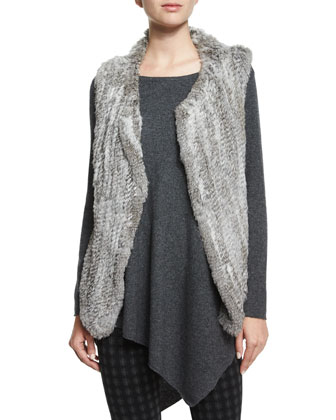 Andoni Rabbit-Fur Vest, Tambrel Asymmetric-Hem Sweater & Keena Check-Print ...