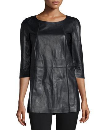 Britt 3/4-Sleeve Leather Blouse, Black