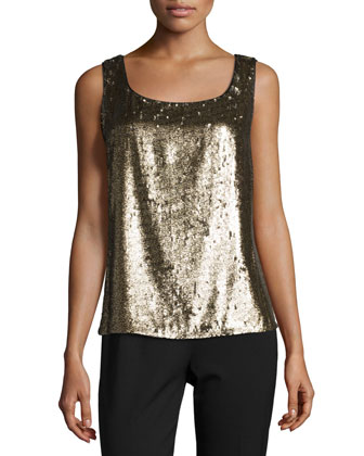 Carlin Round-Neck Metallic Tank, Antique Gold Metal