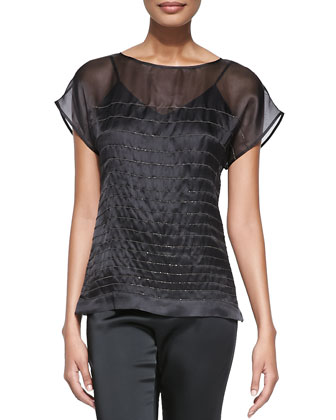 Rosanne Metallic-Striped Blouse, Black
