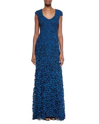 V-Neck Cap-Sleeve Petal Gown, Mallard