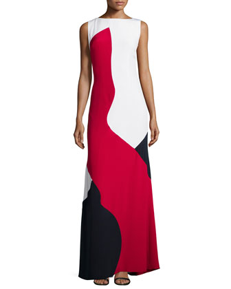 Sleeveless Colorblock Gown, Red Multi