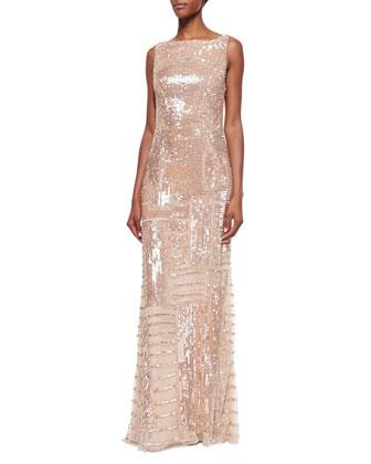 Sleeveless Bateau-Neck Embellished Gown, Nude