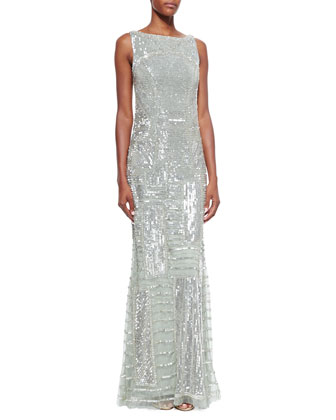Sleeveless Bateau-Neck Embellished Gown, Seafoam