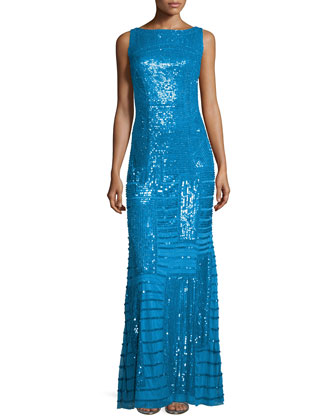 Sleeveless Bateau-Neck Embellished Gown, Azure
