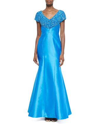 Short-Sleeve Gown W/Sequin Trim, Azure