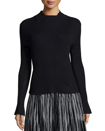 Mock-Neck Ribbed Pullover Top
