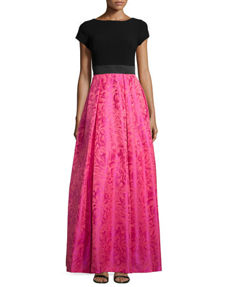Cap-Sleeve Ball-Skirt Gown, Cerise