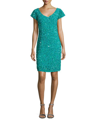 Cap-Sleeve Embellished Dress, Tourmaline