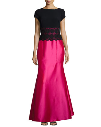 Cap-Sleeve Lace-Embellished Gown, Black/Watermelon