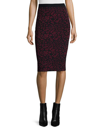 Leopard-Print Slim Pencil Skirt