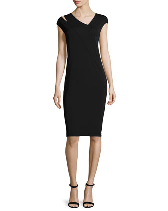 Asymmetric V-Neck Jersey Sheath Dress