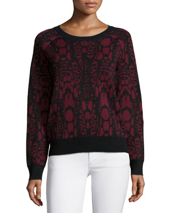 Visual-Print Jacquard Sweater & Pencil Skirt