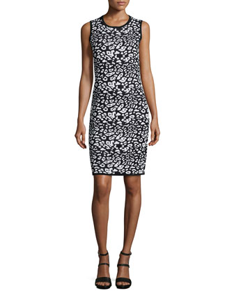 Leopard-Print Jacquard Sheath Dress