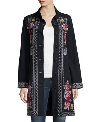 Joy Embroidered Military Coat, Women's