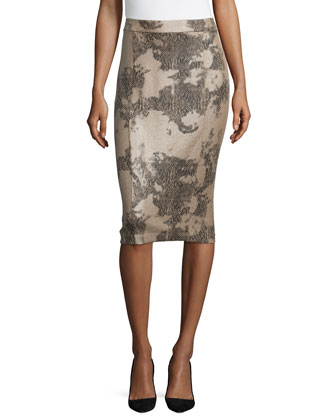 Snake-Print Slim Pencil Skirt