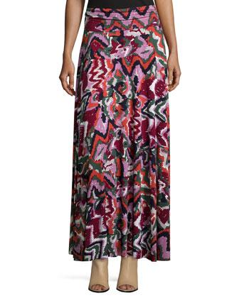 Long Printed Full Skirt, Women's
