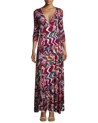 Long Printed Wrap Dress, Women's