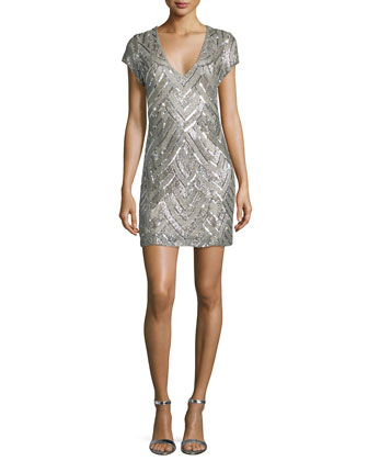 Serena Short-Sleeve V-Neck Sequined Dress