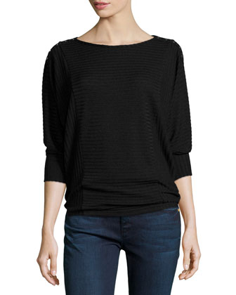 Aislina 3/4-Sleeve Ribbed Top, Black