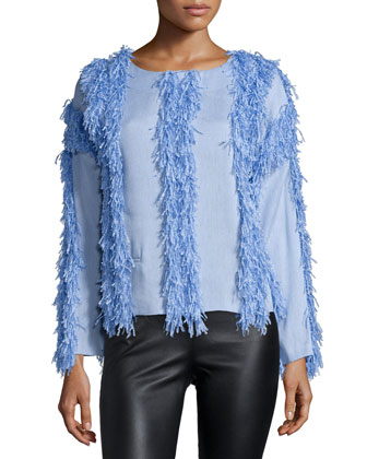 Raffia Welt Long-Sleeve Pullover, Moon Blue