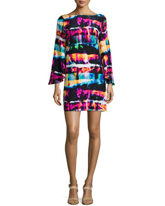 Marissa Printed Flutter-Sleeve Dress