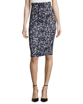 Sleeveless Leather Peplum Top & Printed Contour Pencil Skirt