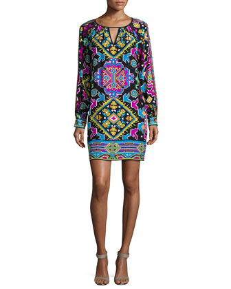 Autumn Long-Sleeve Printed Shift Dress