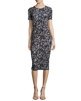 Short-Sleeve Printed Midi Sheath Dress