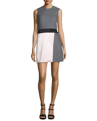 Paneled Sleeveless Party Dress, Charcoal
