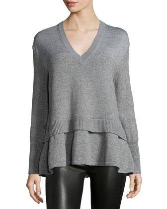 Basic Wool-Blend V-Neck Sweater, Gray Melange