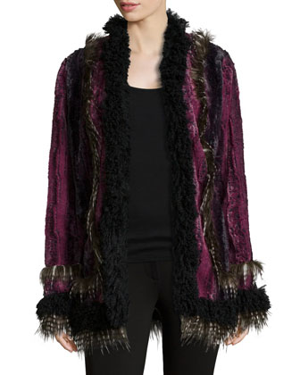 Long-Sleeve Open-Front Faux-Fur Jacket, Magenta