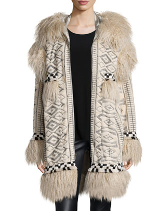 Mongolian Faux Fur & Viking Embroidered Coat