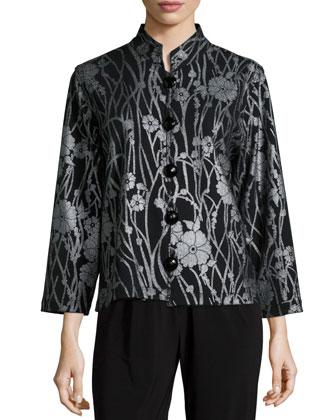 Deco Flower Button-Front Jacket, Women's