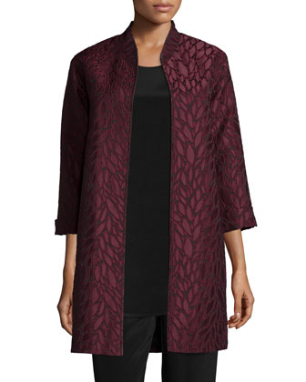 Floating Leaves Jacquard Opera Coat, Women's