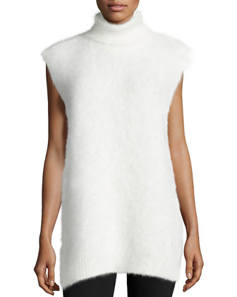Turtleneck 3GG Mink-Cashmere Vest, White