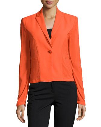 Long-Sleeve One-Button Jacket, Orange