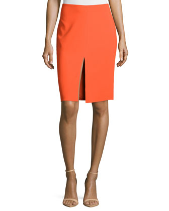 Mid-Rise Pencil Skirt, Orange