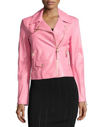 Long-Sleeve Leather Jacket, Pink