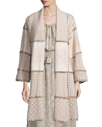 Dinaria Cashmere Jacket W/Contrast Stitching & Elvaria Long-Sleeve Maxi Dress