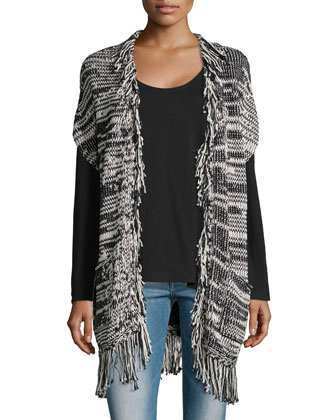 Short-Sleeve Cardigan W/ Fringe